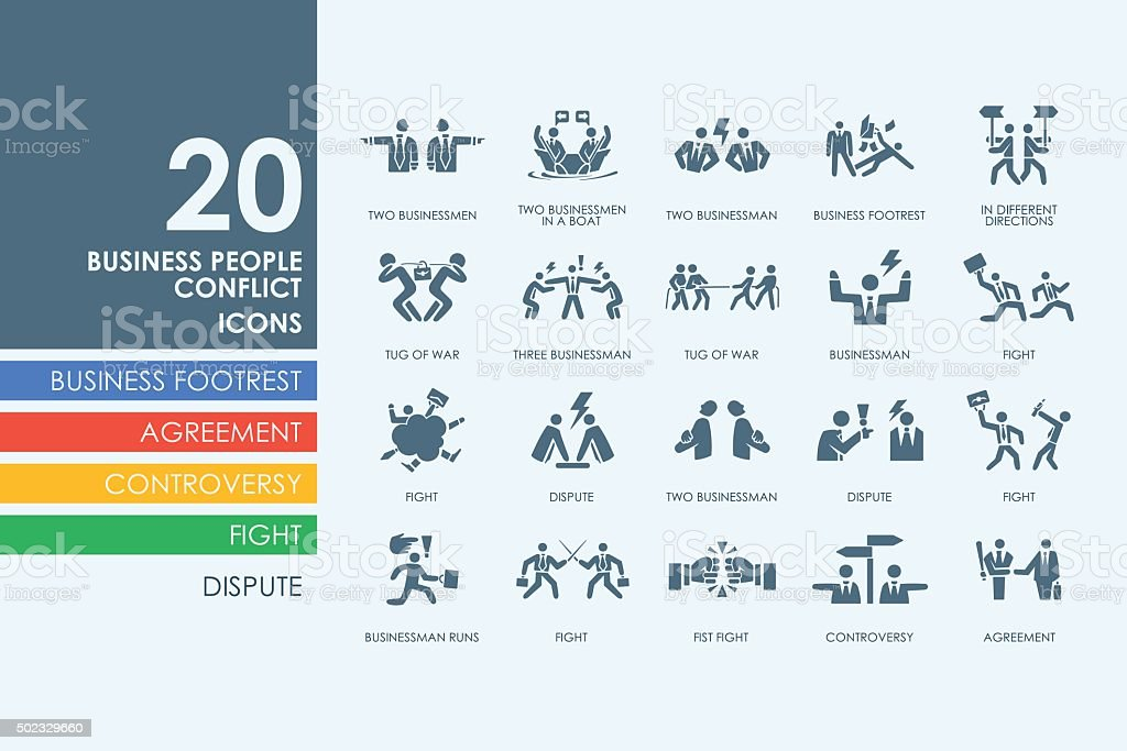 Set of business people conflict icons vector art illustration