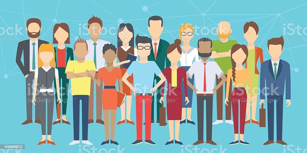 Set of business people vector art illustration