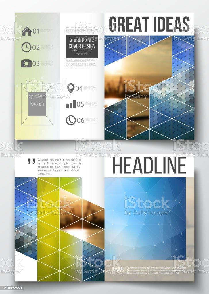 Set of business templates for brochure, magazine, flyer, booklet or vector art illustration
