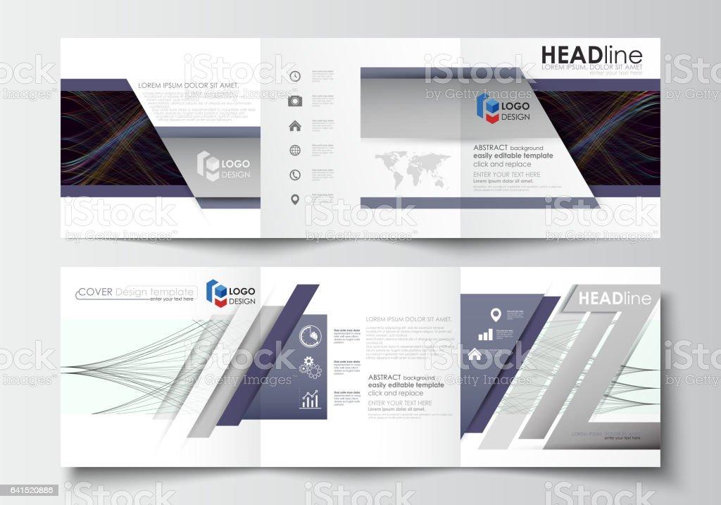 Set of business templates for tri fold square brochures. Leaflet...