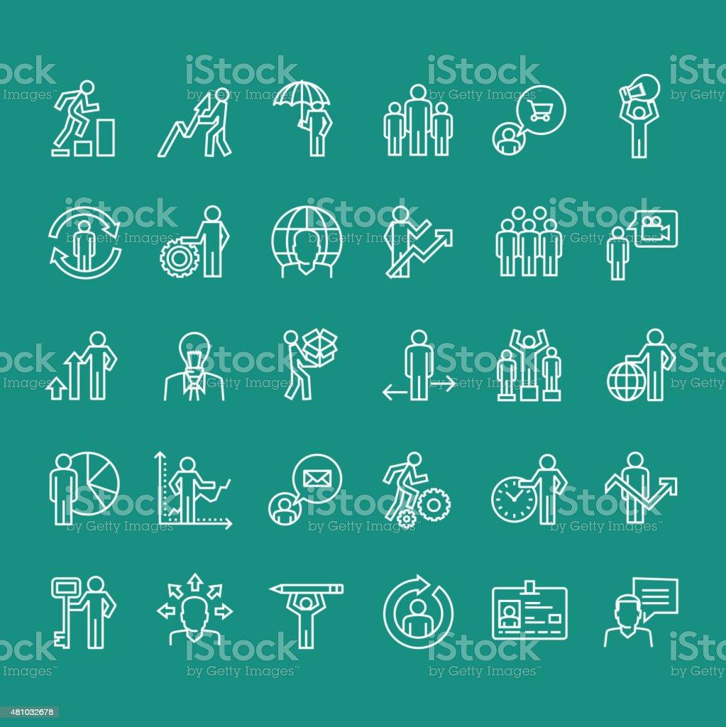 Conjunto de iconos de línea fina personas de negocios illustracion libre de derechos libre de derechos