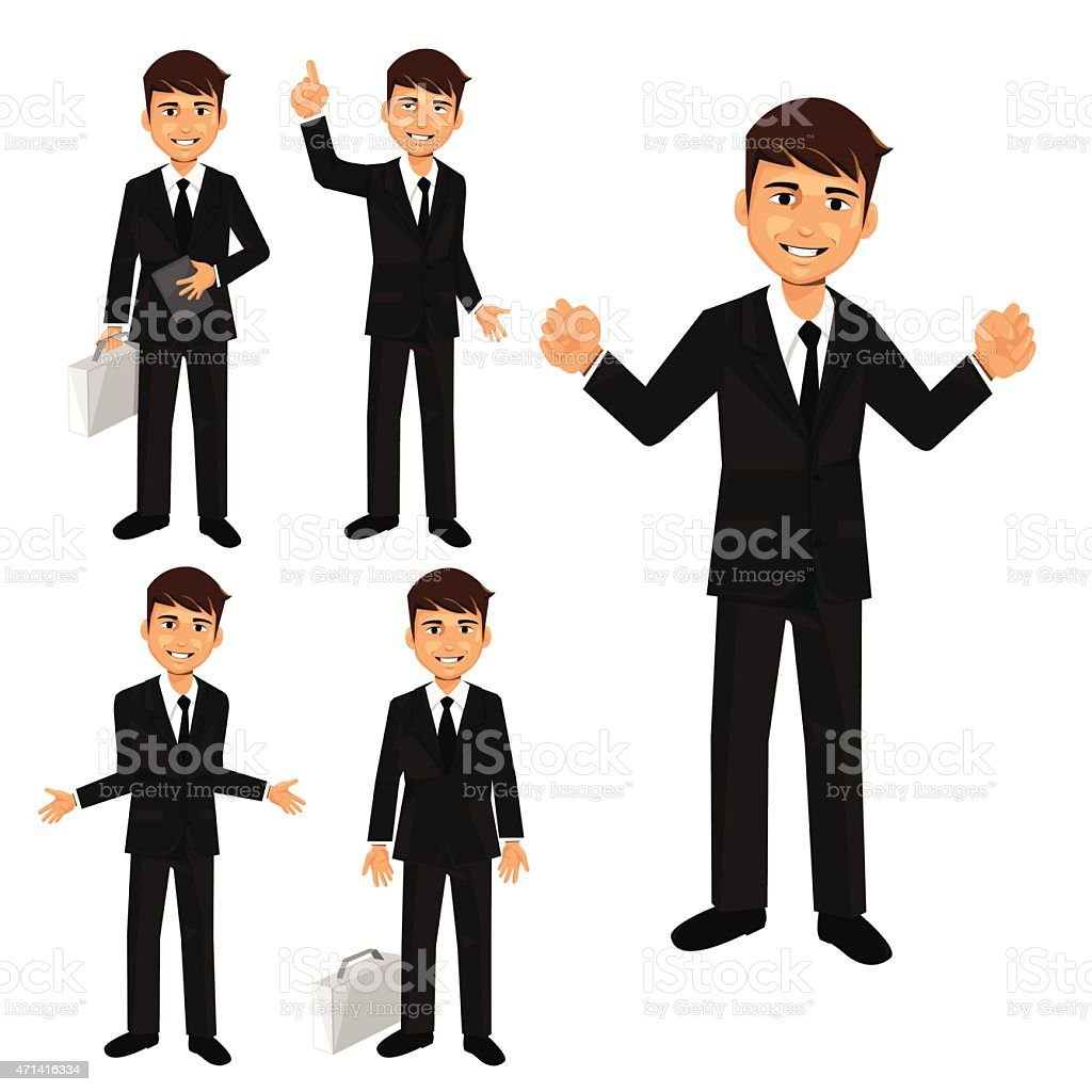 Set of businessman characters poses vector art illustration