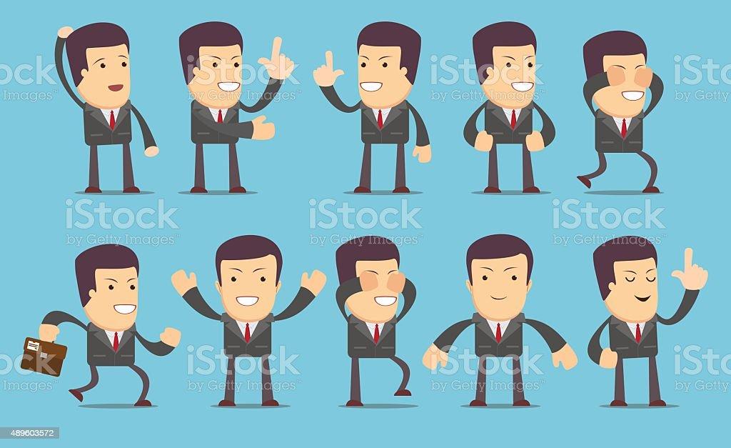 Set of businessman characters vector art illustration