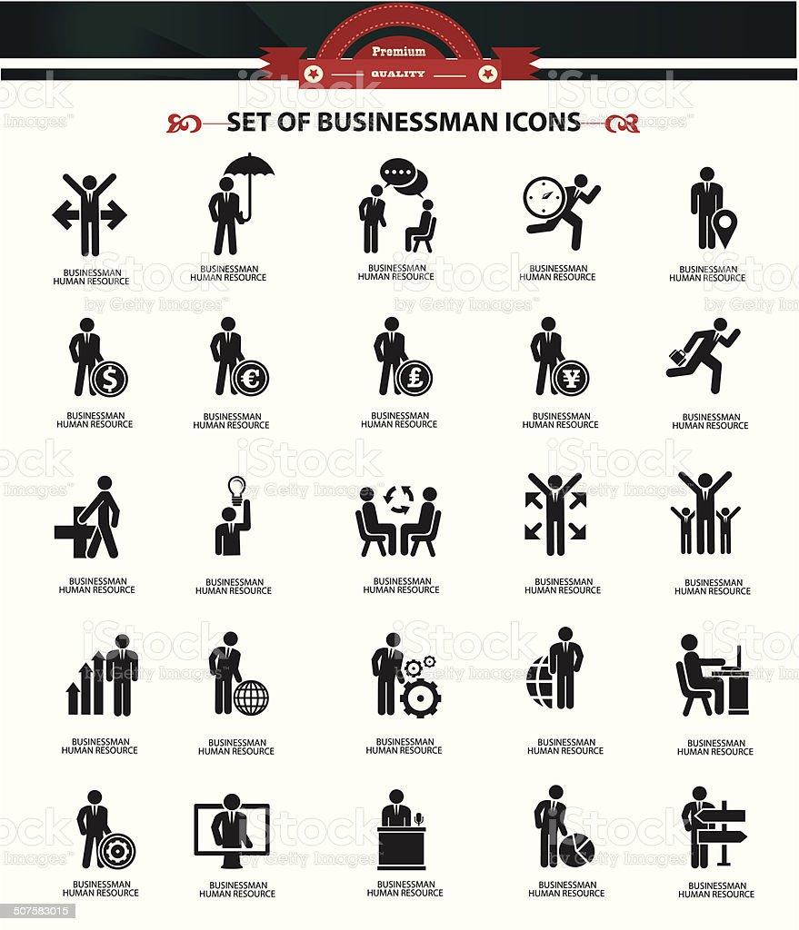 Set of Businessman icons,Black version,vector vector art illustration