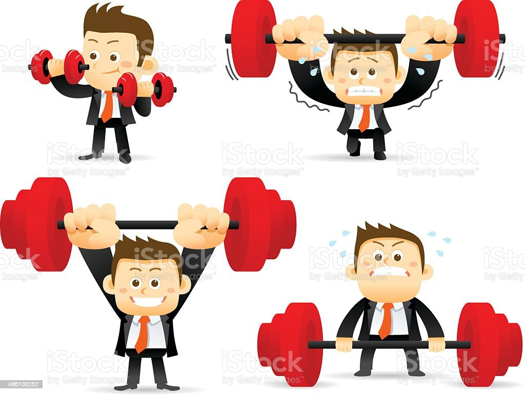 Set of businessman with barbell vector art illustration