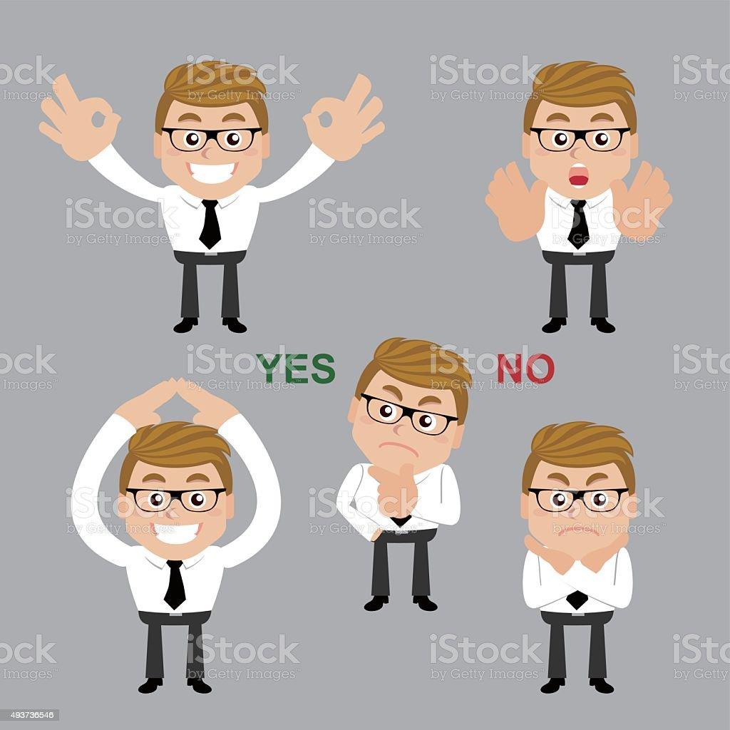 Set of businessman. Yes or no vector art illustration