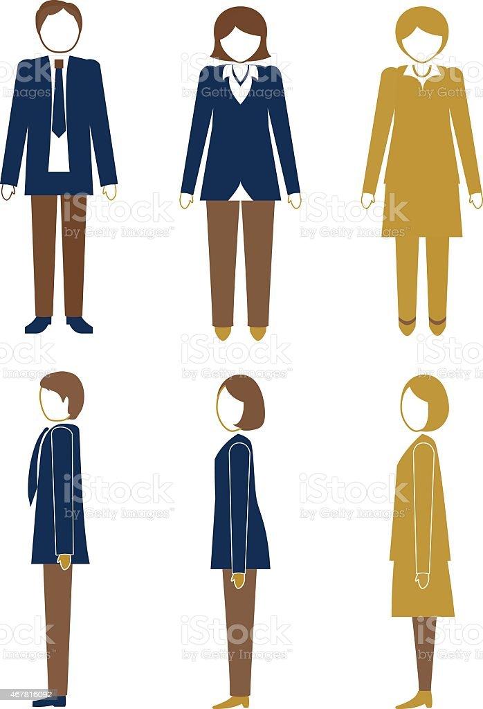 Set Of Businessmen And Businesswomen vector art illustration