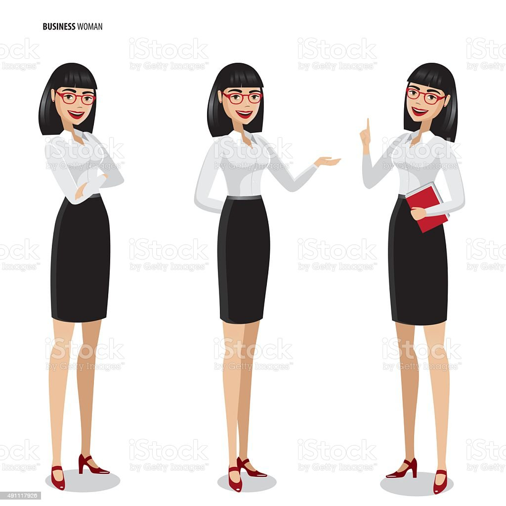 Set of businesswomen on white background vector art illustration