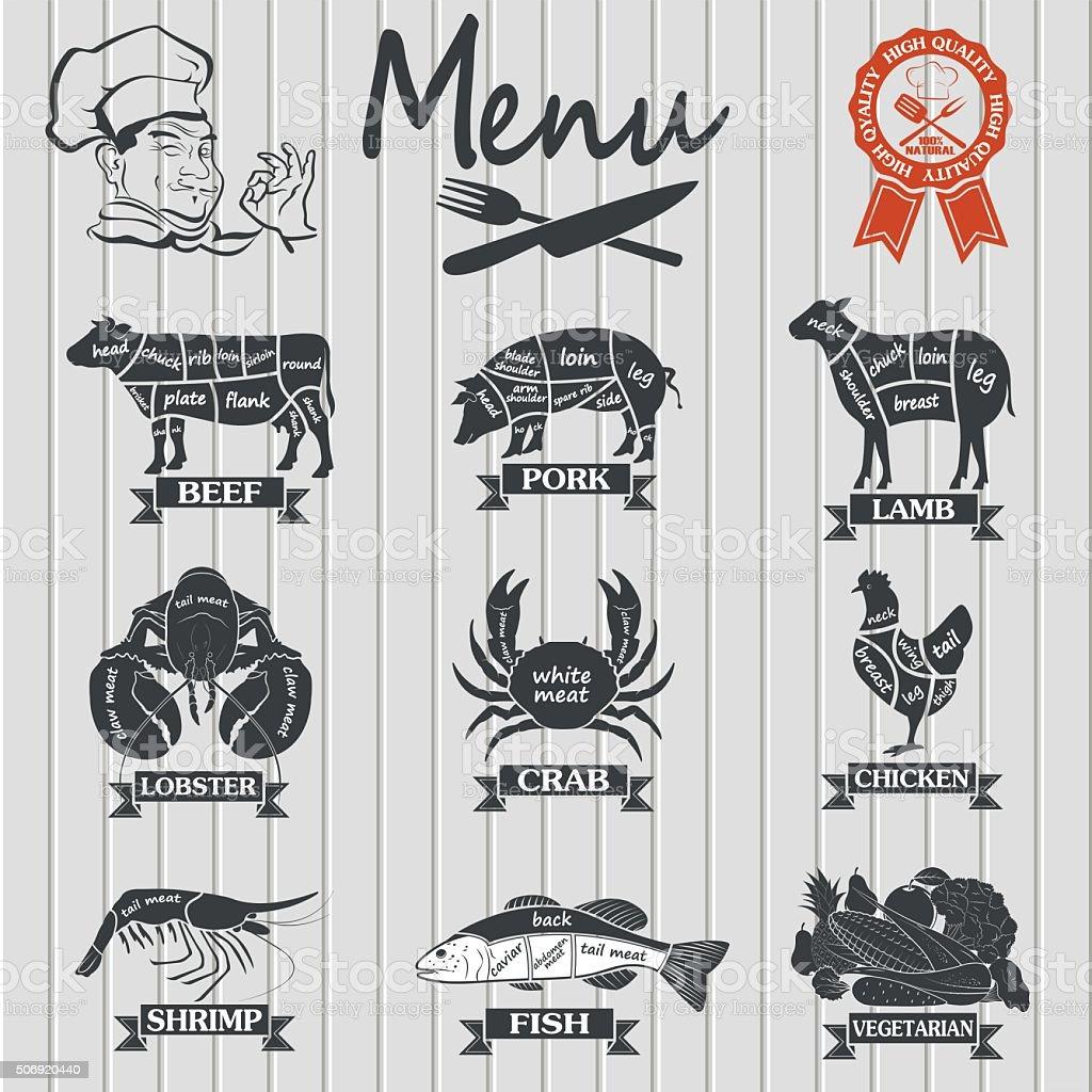 Set of butcher shop labels and design elementsn vector art illustration