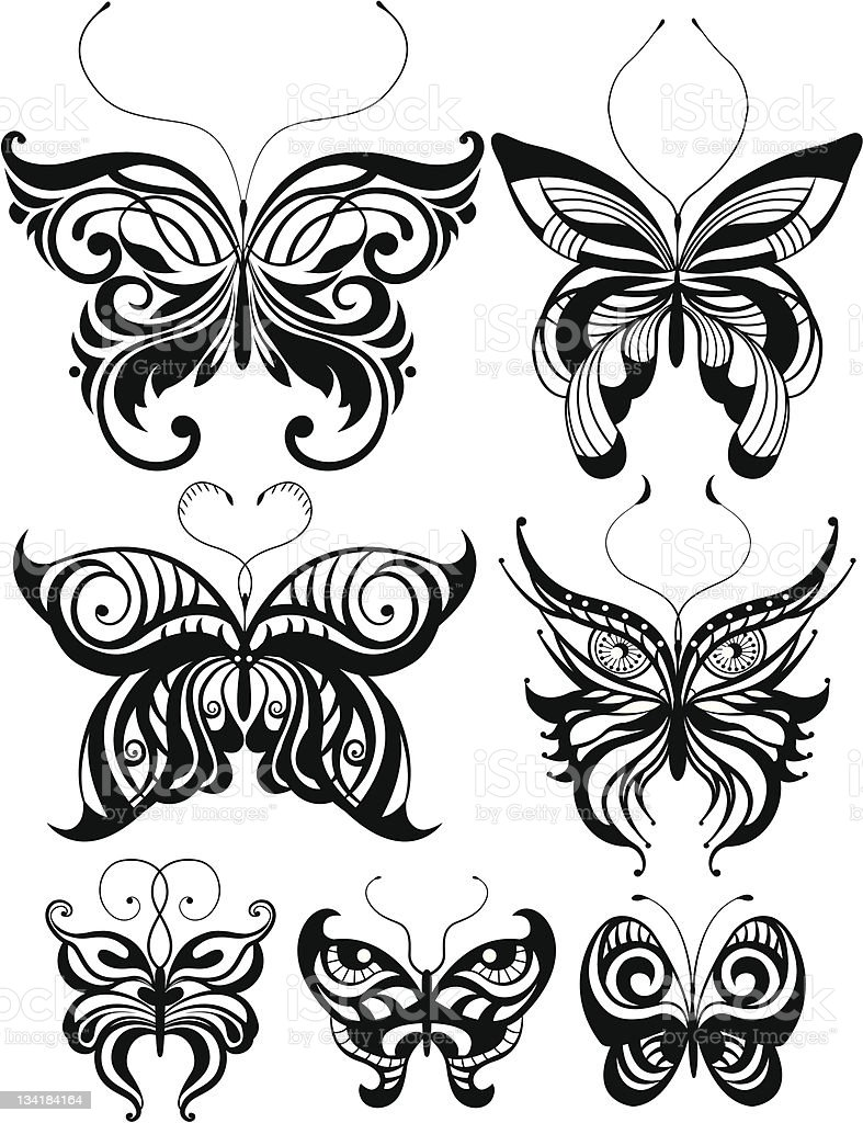 Set of butterflies royalty-free stock vector art