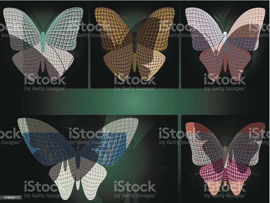 set of butterflies royalty-free stock vector art