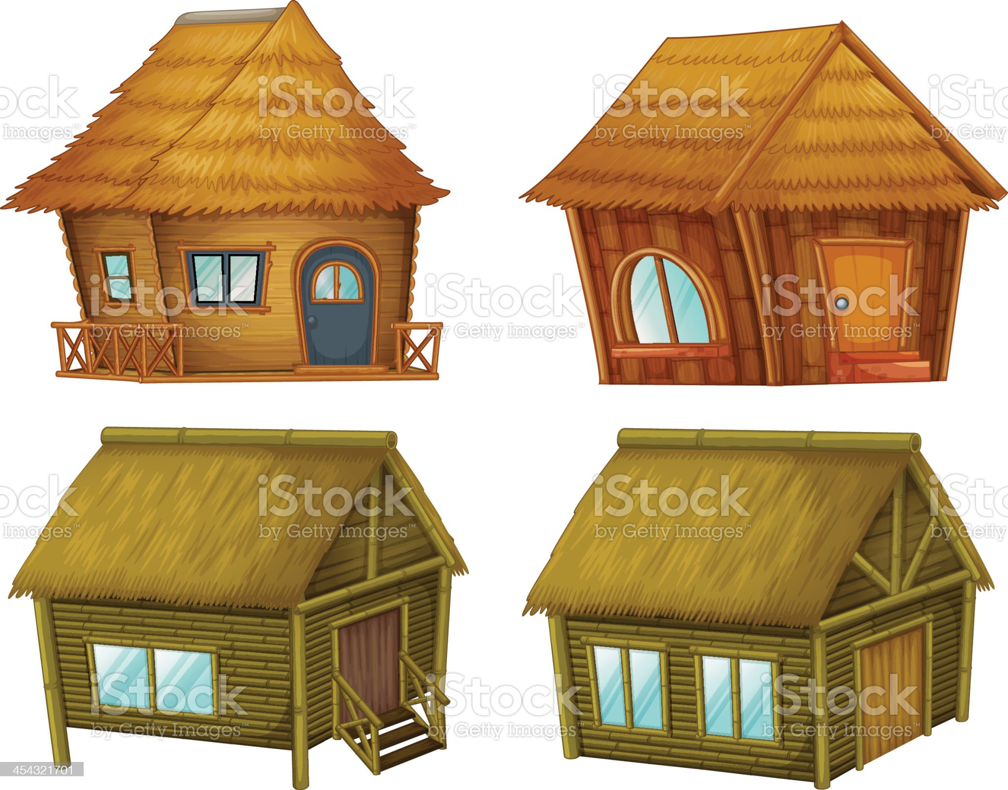Set of cabins royalty-free stock vector art