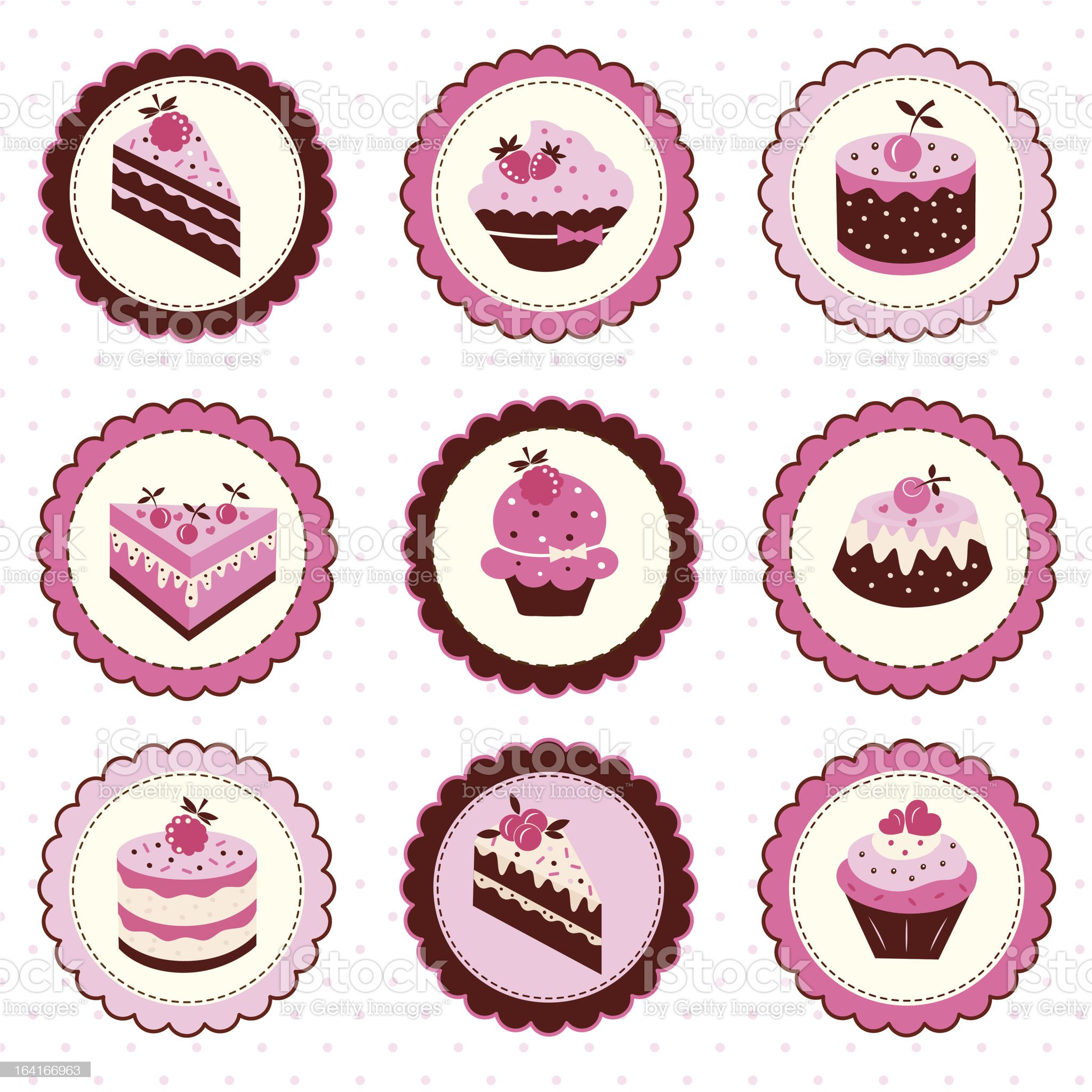 Set of cakes stickers royalty-free stock vector art