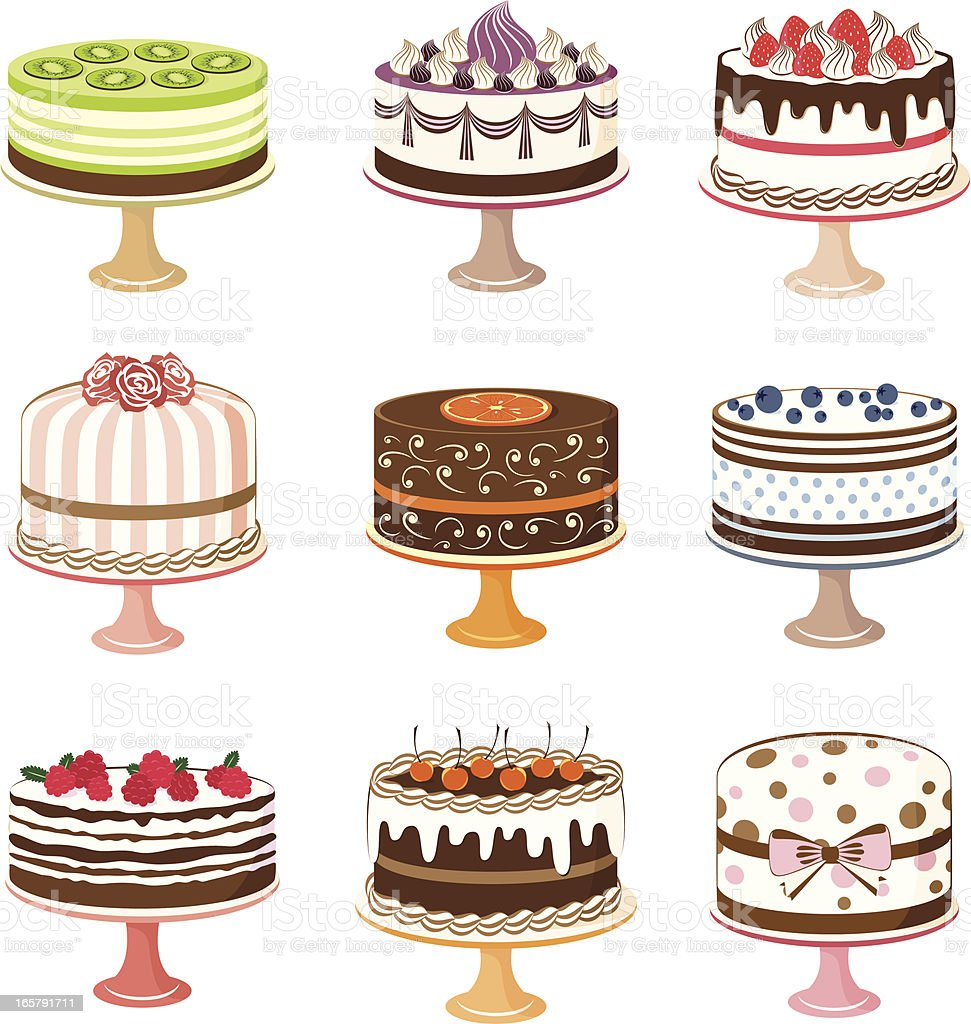 Set of cakes. vector art illustration