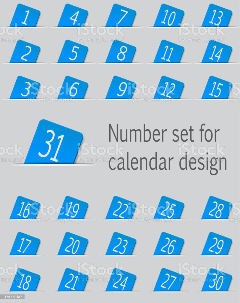 Set of calendar icons with numbers. Vector illustration royalty-free stock vector art