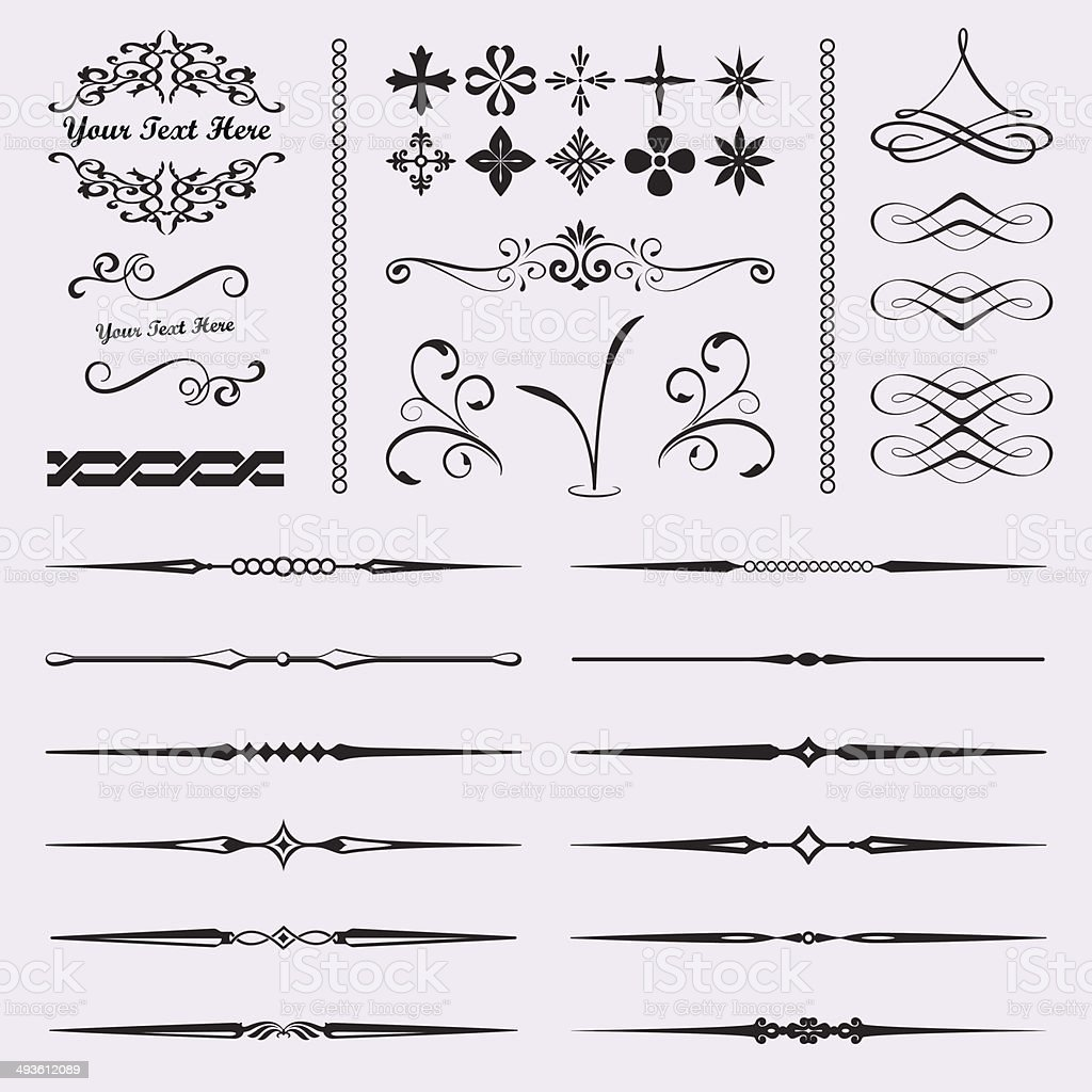 Set of Calligraphic and Decorative Design Elements vector art illustration