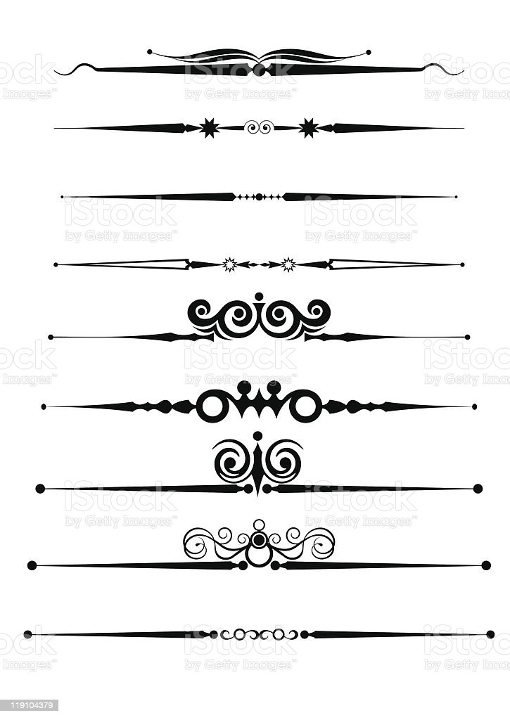 Set of calligraphic design elements vintage ornaments and