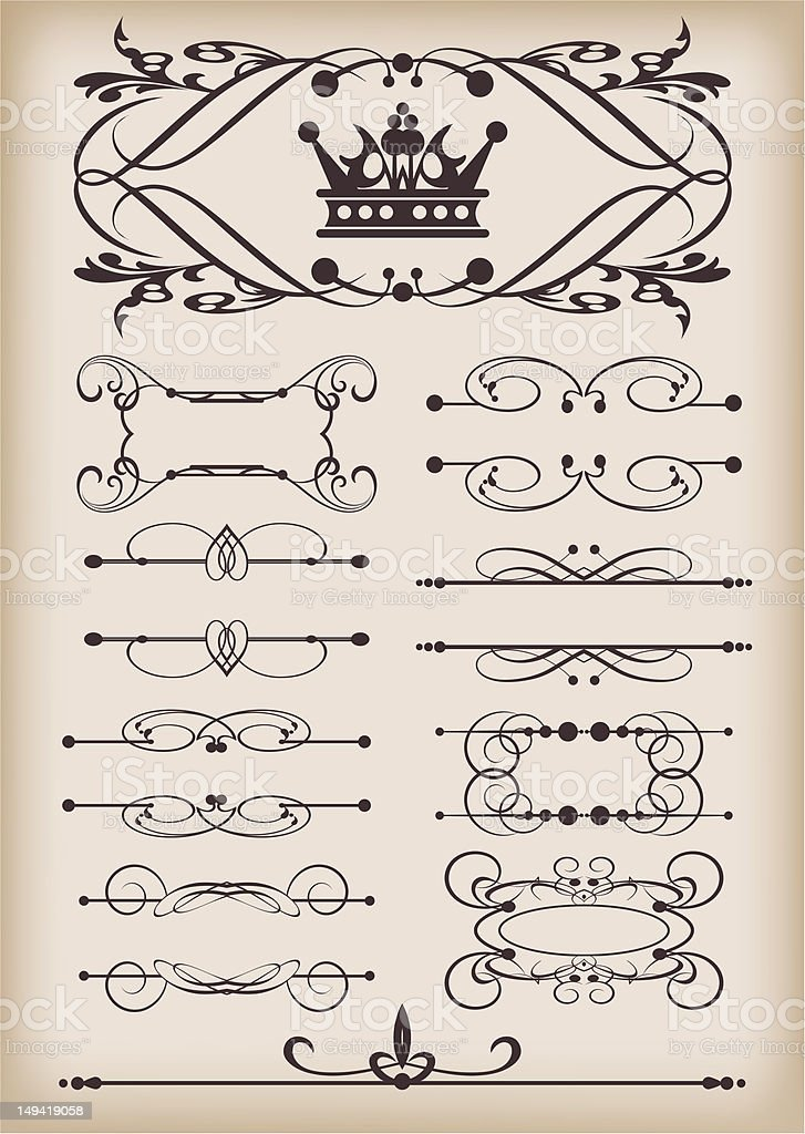 Set of calligraphic design elements vintage ornaments and dividers royalty-free stock vector art