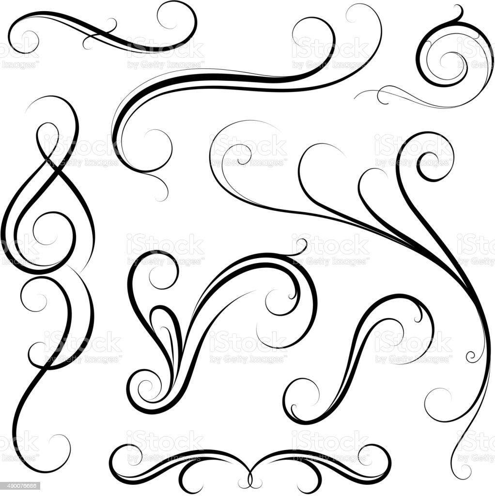 Set of calligraphic swirls vector art illustration