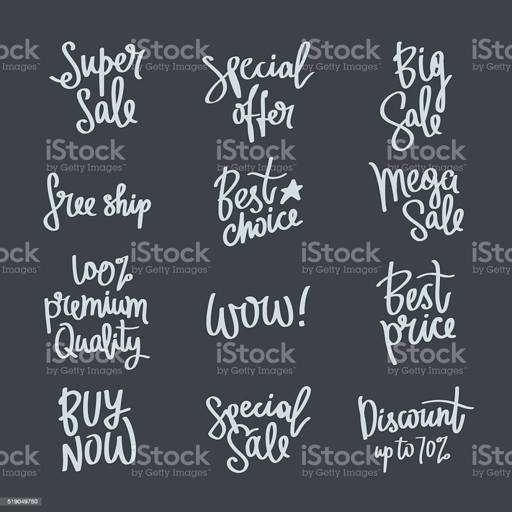 Set of calligraphy on the theme of sale vector art illustration