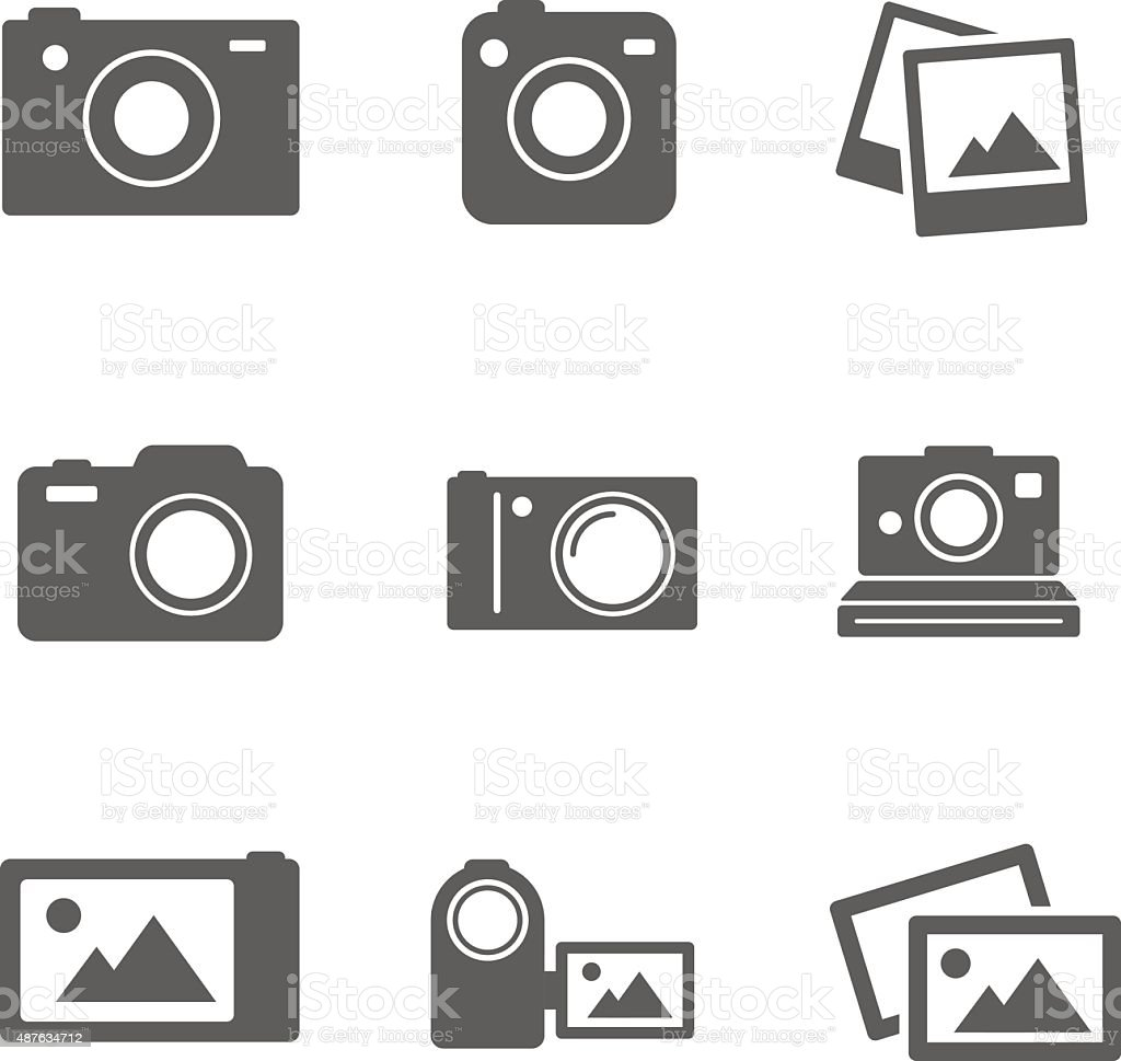 Set of camera photo icons. Elements vector art illustration