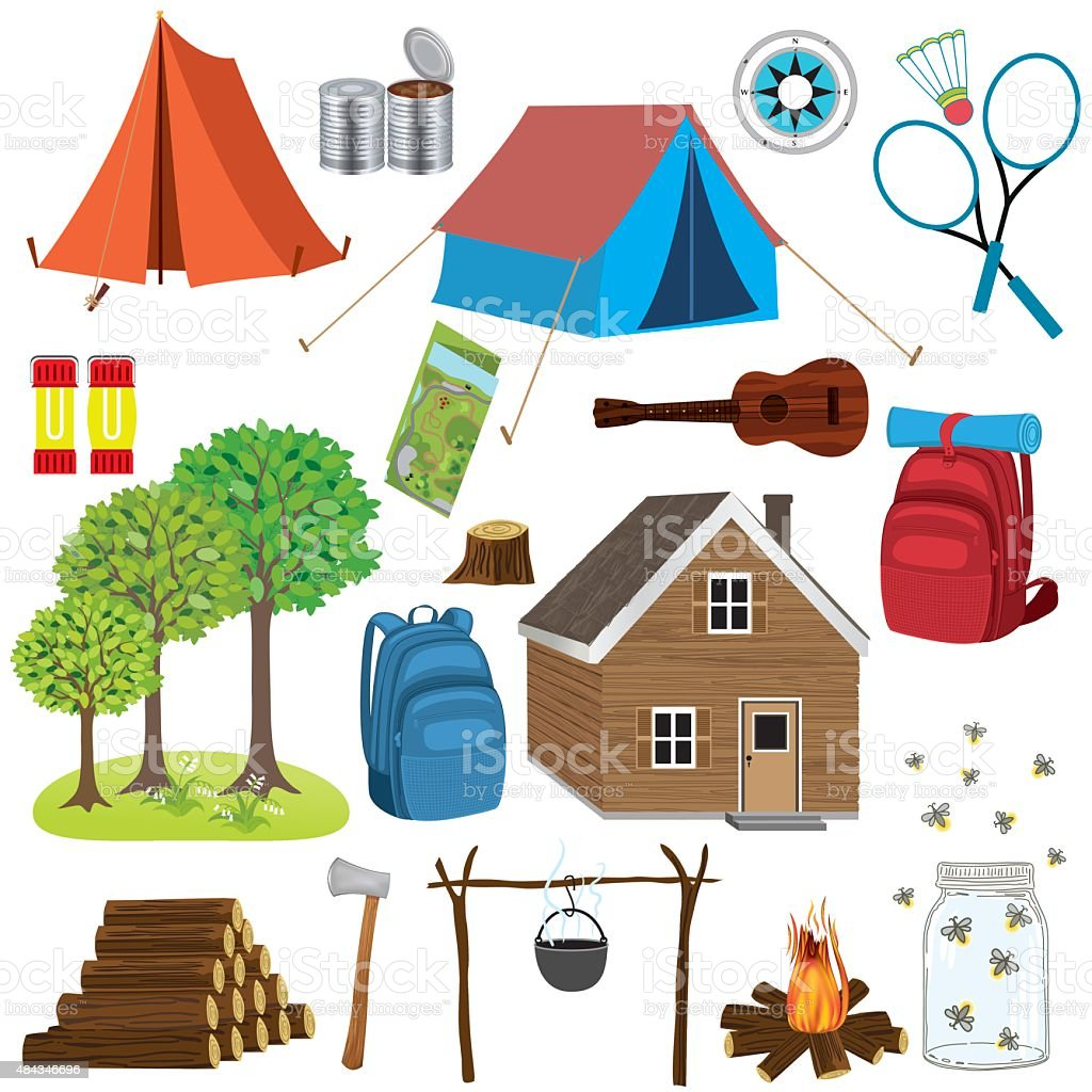 Set Of Camping And Hiking Elements vector art illustration