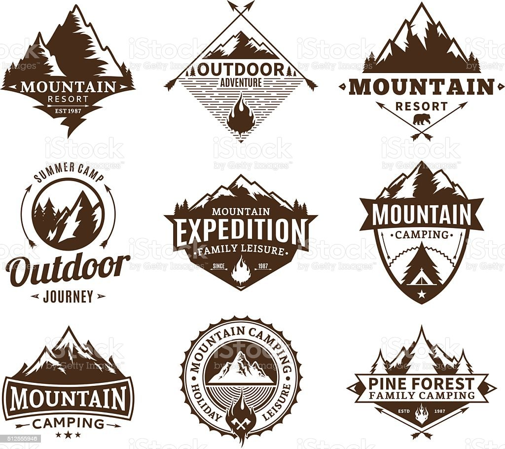 Set of camping and outdoor activity labels vector art illustration
