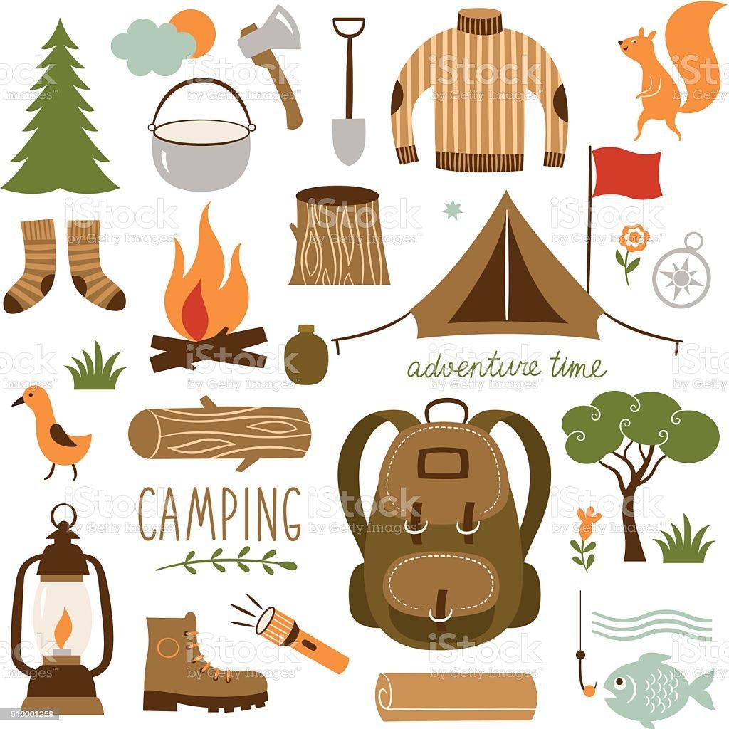 Set of camping equipment icon set vector art illustration