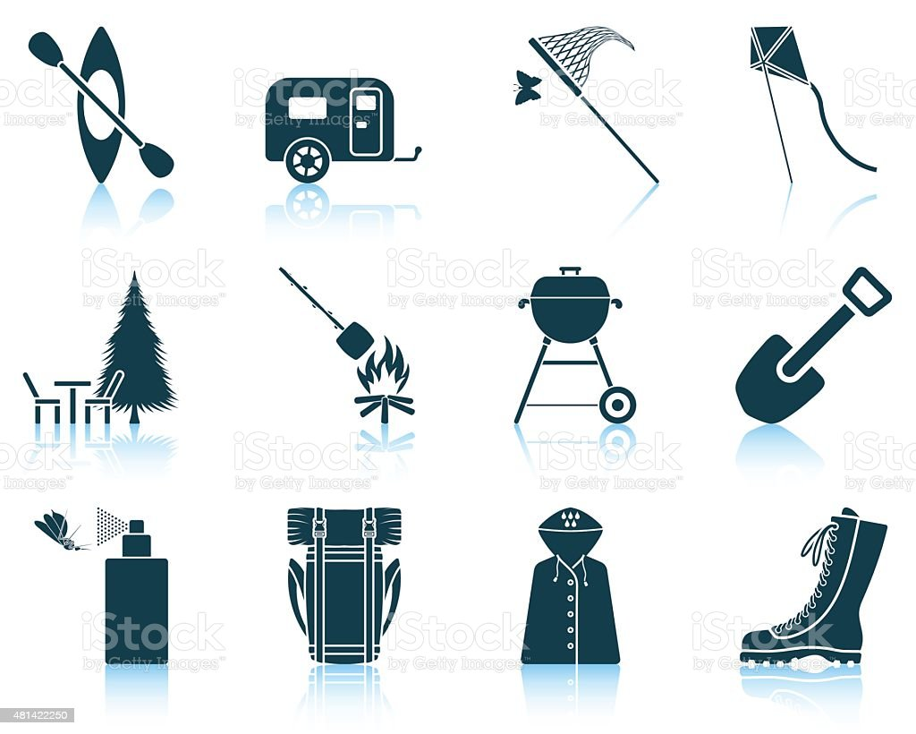 Set of camping icons. vector art illustration