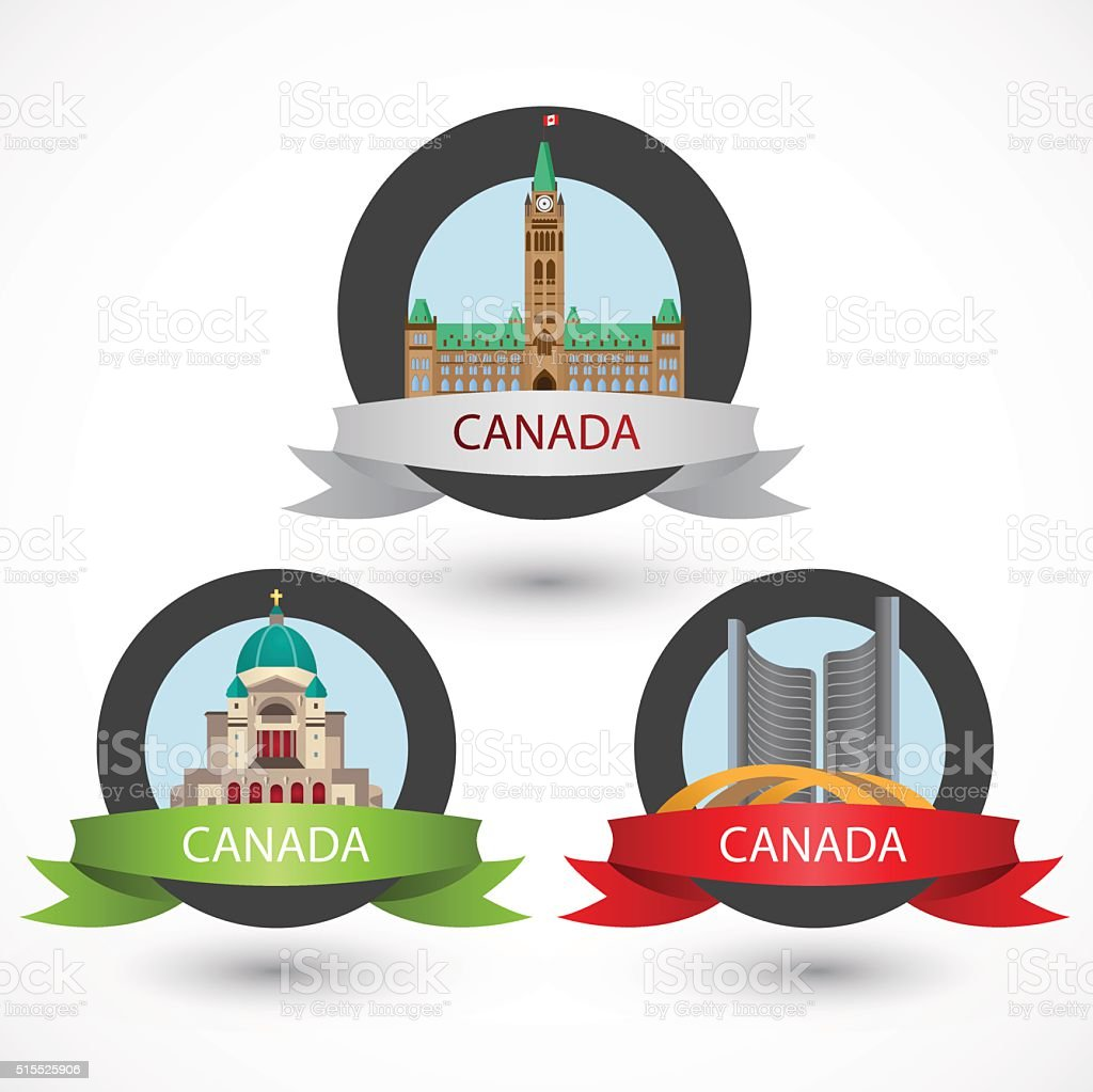 Set of Canada famous monuments. vector art illustration
