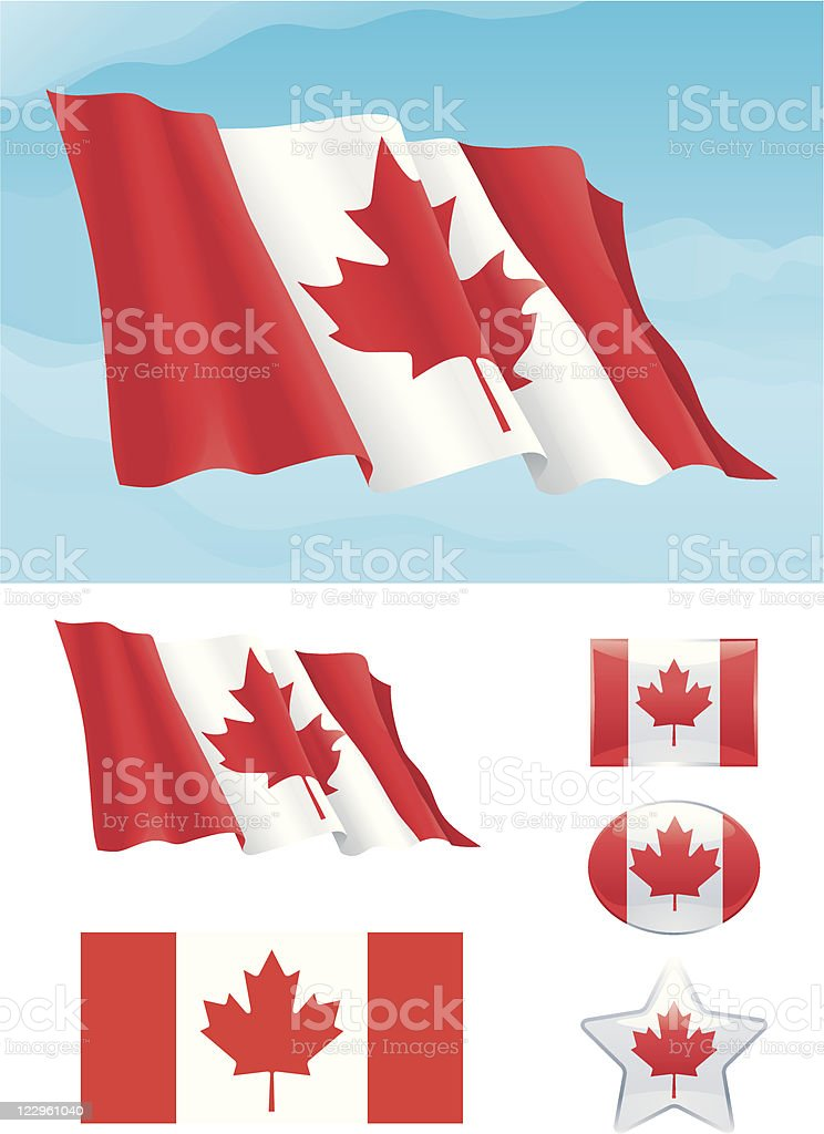 Set of Canadian flag royalty-free stock vector art