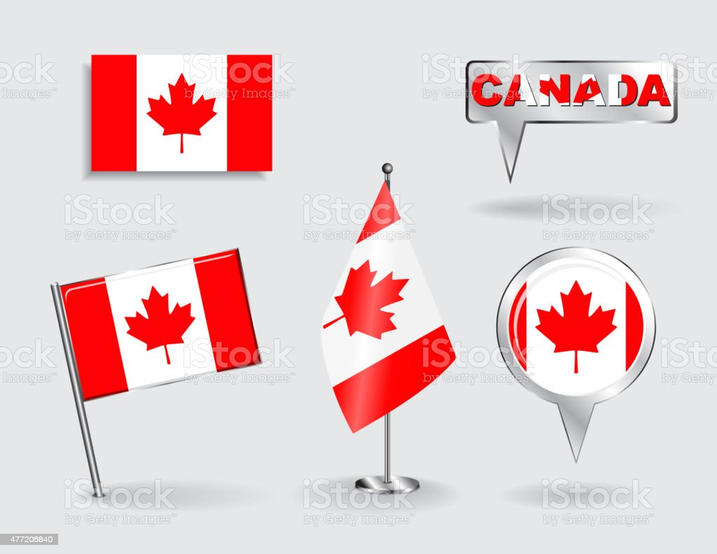 Set of Canadian pin, icon and map pointer flags. Vector vector art illustration