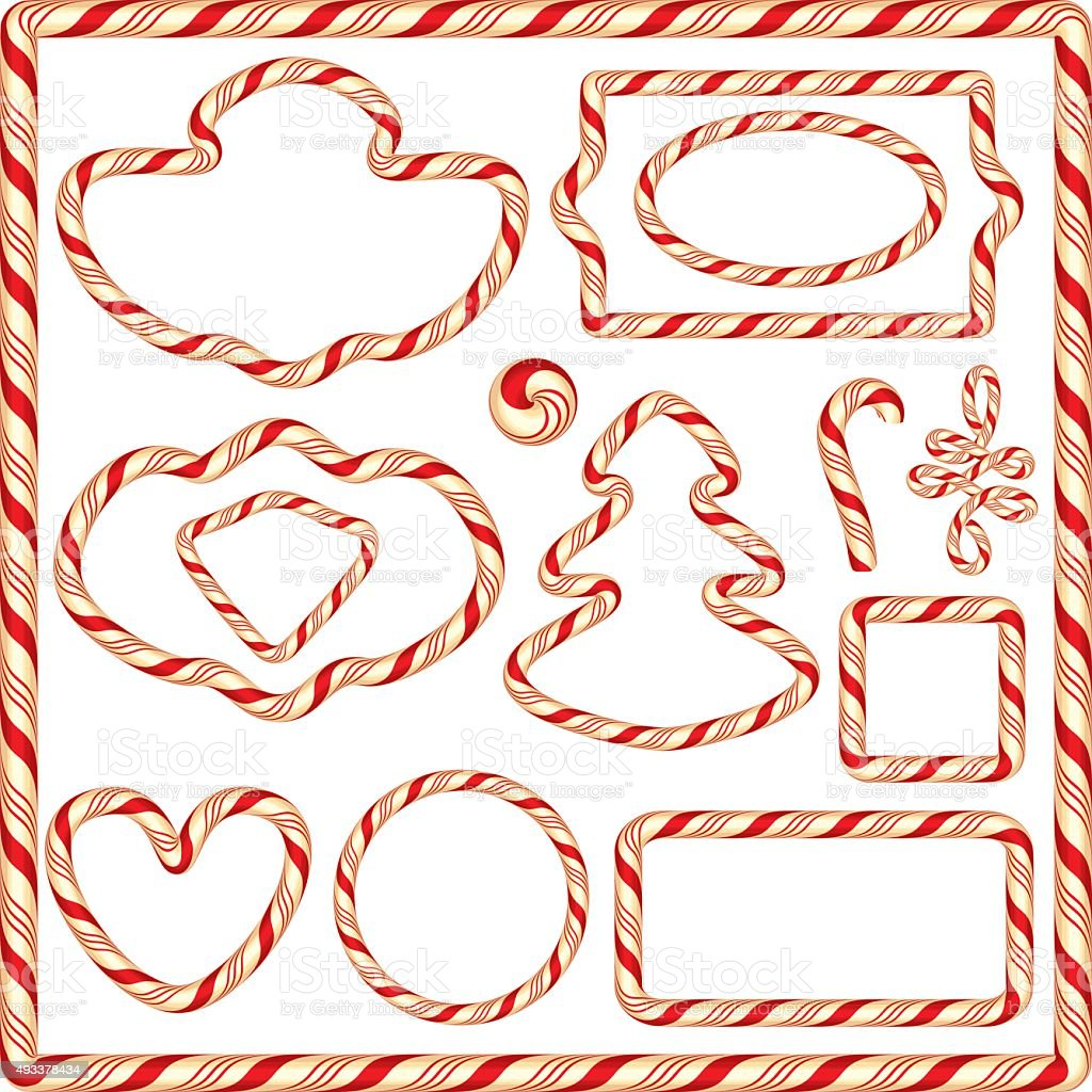 Set of Candy frames and borders for winter holidays design vector art illustration