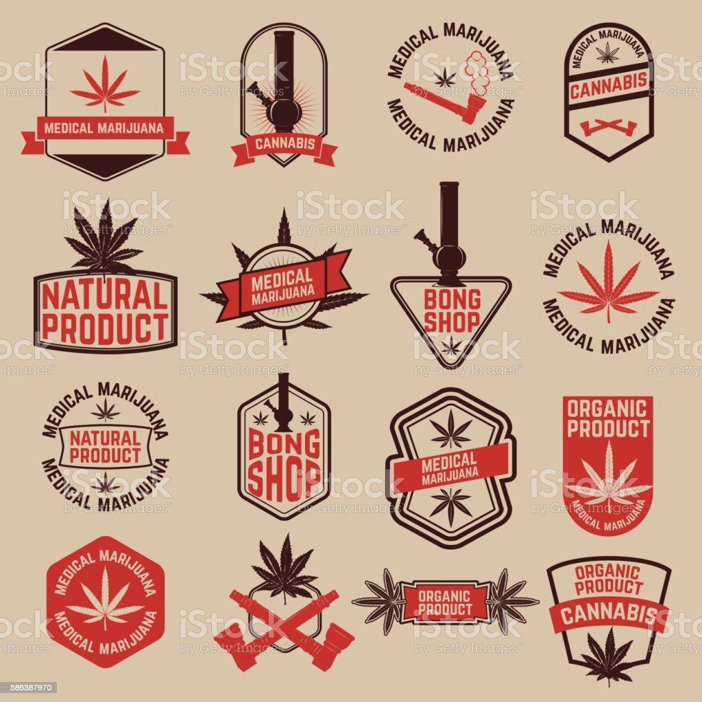 Set of cannabis labels. Medical marijuana, bong shop. vector art illustration