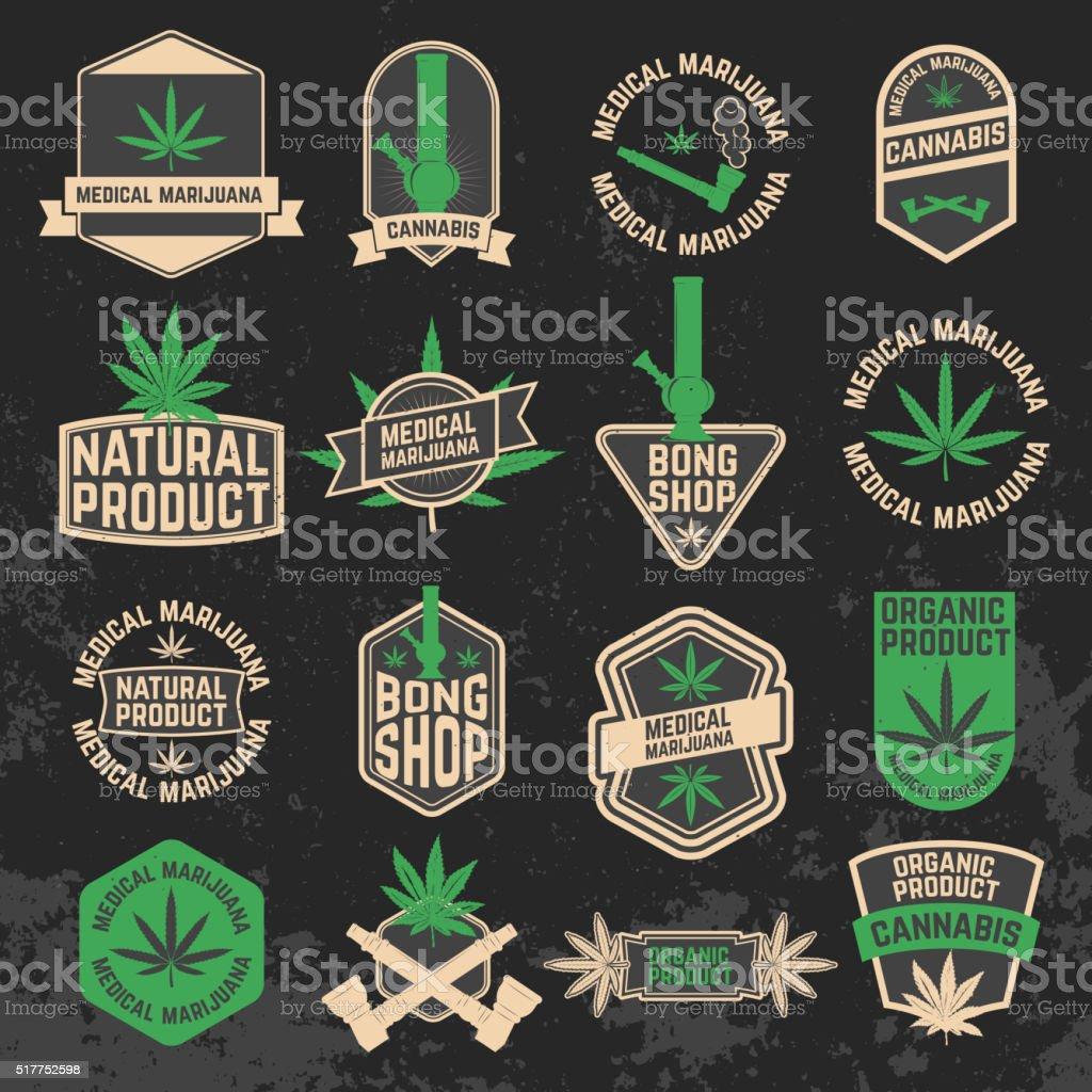 Set of cannabis, marijuana, bong shop labels, badges and design vector art illustration