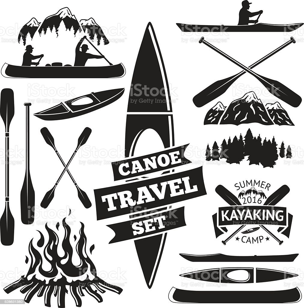 Set of canoe and kayak design elements. Two man in vector art illustration