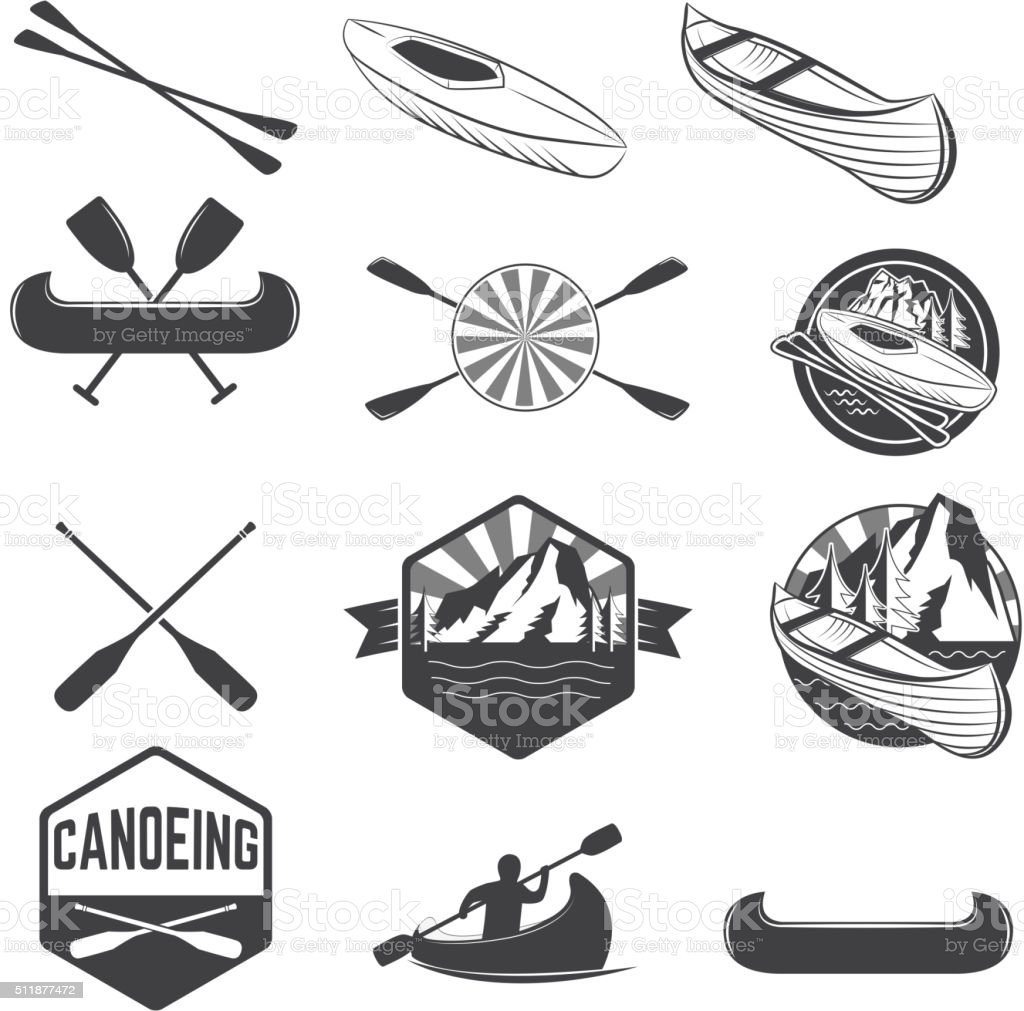 Set of canoeing labels and design elements vector art illustration