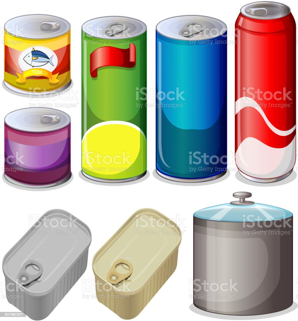 Set of cans vector art illustration
