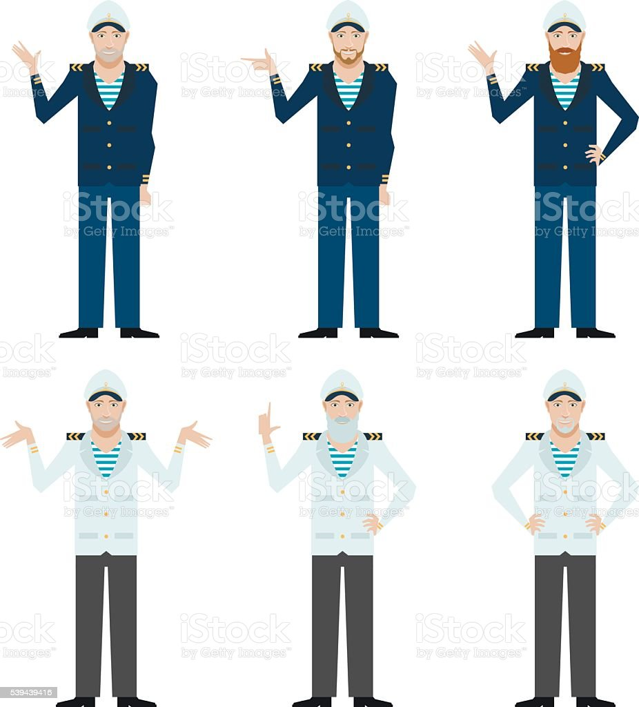 Set of Captains vector art illustration