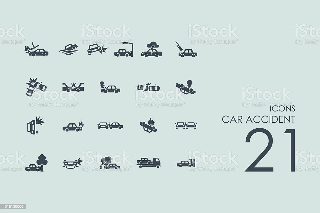 Set of car accident icons vector art illustration