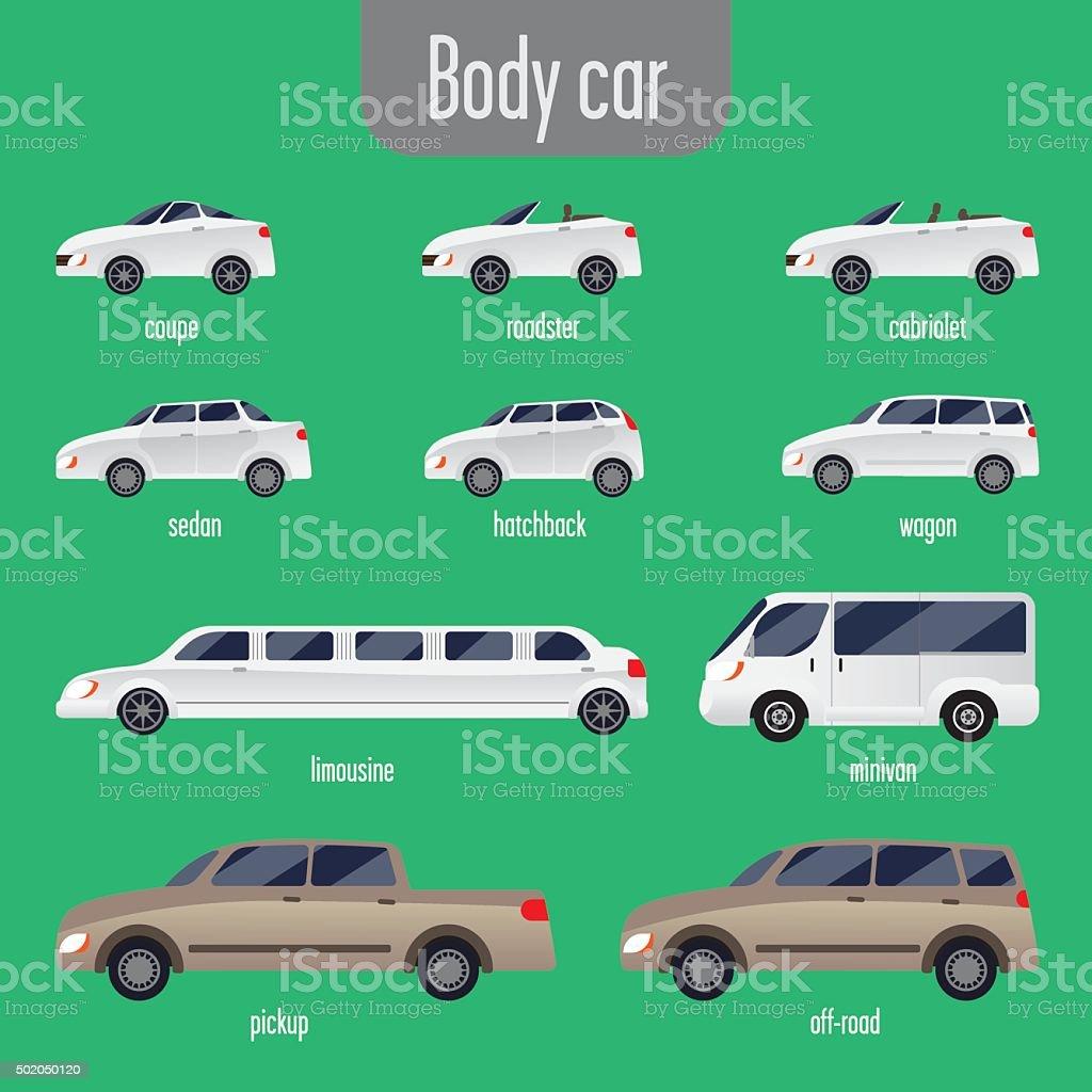 set of car bodies vector art illustration