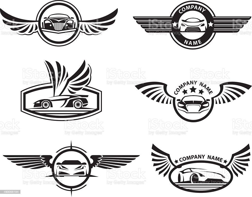 set of car labels vector art illustration