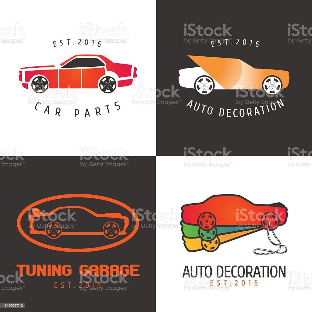 Set of car paint, car parts vector icon, symbol, sign vector art illustration