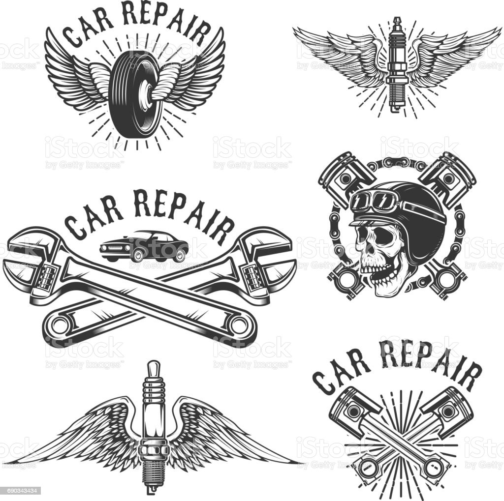 Set Of Car Repair And Racing Emblems Spark Plug With Wings Racer - Car sign with wings