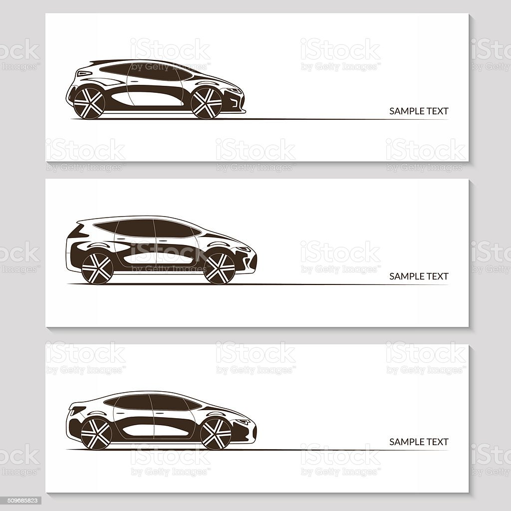 Set of car silhouettes isolated on white vector art illustration