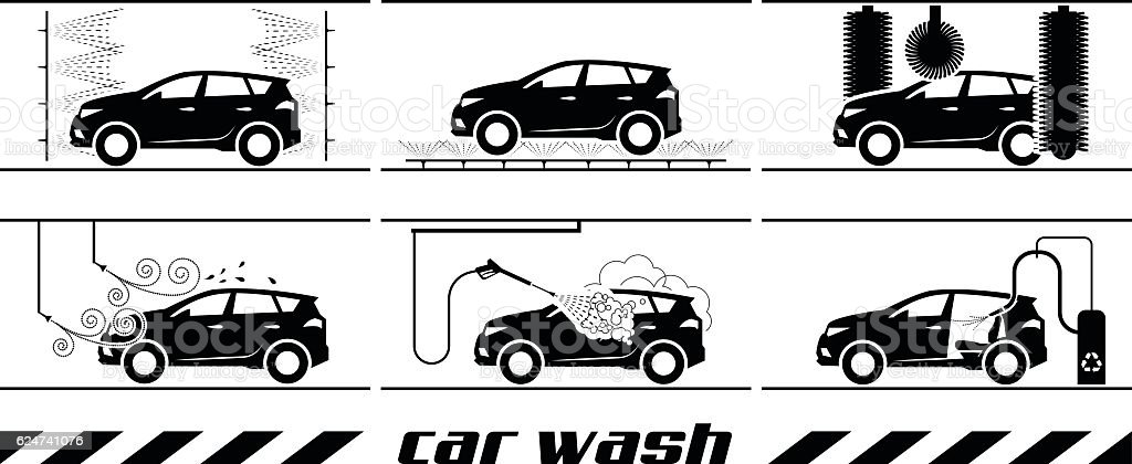Set of car washing icons vector art illustration