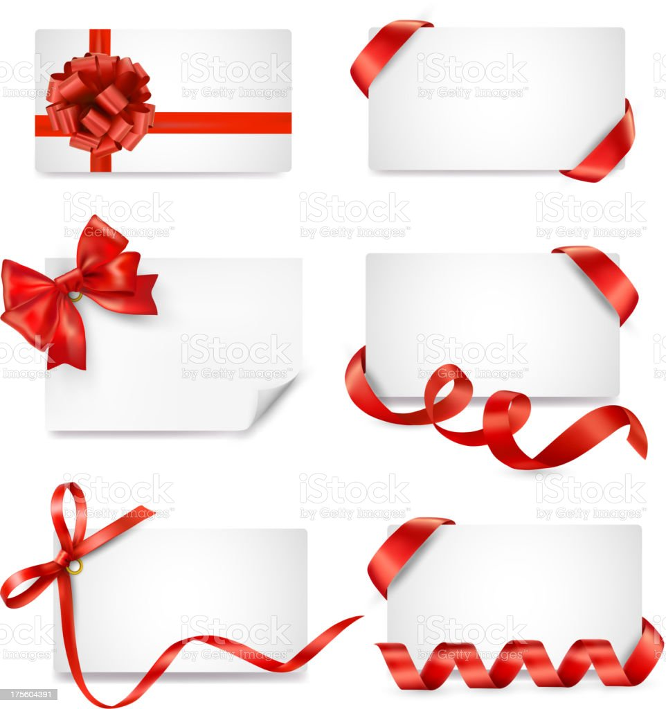Set of card notes with red gift bows and ribbons vector art illustration