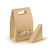 Set of Cardboard Take Away Lunch Box For Sandwich