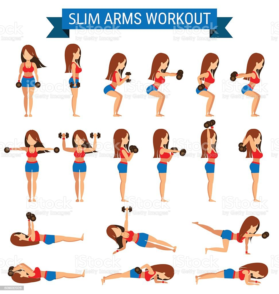 Set of cardio exercise for slim arms workout vector art illustration