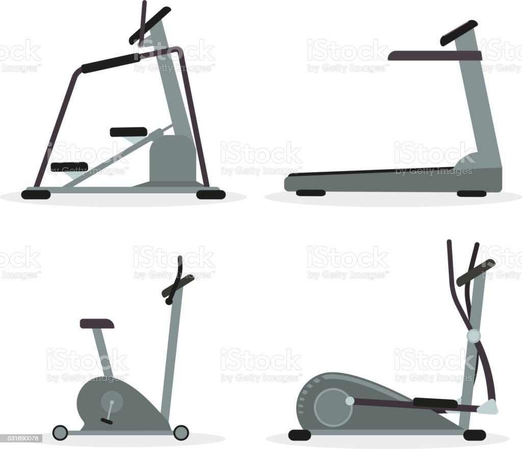 Set of cardio machines vector art illustration